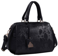 Black Vegan Leather Snakeskin Tote Fashion Handbag Shoulder bag Purse