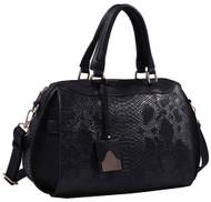 Black Vegan Leather Snakeskin Tote Fashion Handbag Shoulder bag Purse