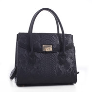 Celina Snakeskin Pattern Embossed Faux Leather Satchel Hand Bag
