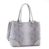 Jenele Python Embossed Pattern Faux Leather Tote Shoulder Hand Bag