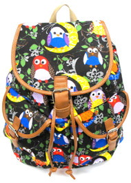 "16"" Large Women's Canvas Backpack Padded Strap Drawstring Closure Leather Trim for Travel, Outdoor - Owl"