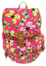 "16"" Large Women's Canvas Backpack Padded Strap Drawstring Closure Leather Trim for Travel, Outdoor -  Butterfly"