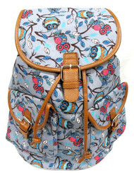 """16"""" Large Women's Canvas Backpack Padded Strap Drawstring Closure Leather Trim for Travel, Outdoor -  Grey OWL"""