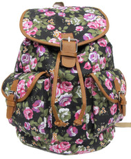 "16"" Large Women's Canvas Backpack Padded Strap Drawstring Closure Leather Trim for Travel, Outdoor - Roses"