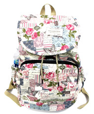 """16"""" Large Women's Canvas Backpack Padded Strap Drawstring Closure Zipper Front for Travel, Outdoor - Secret Garden of Postcards"""