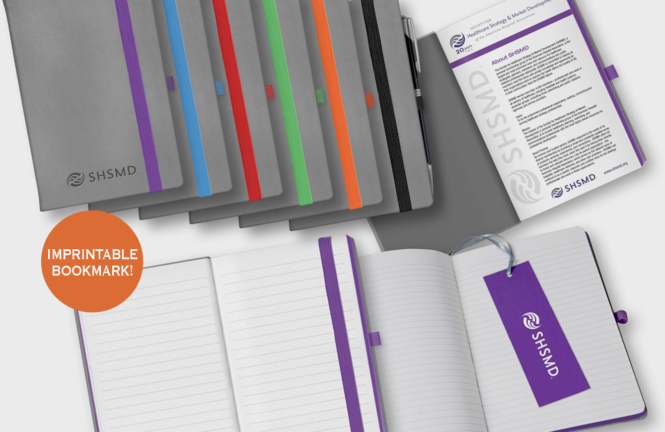 Flexible cover with imprintable bookmark