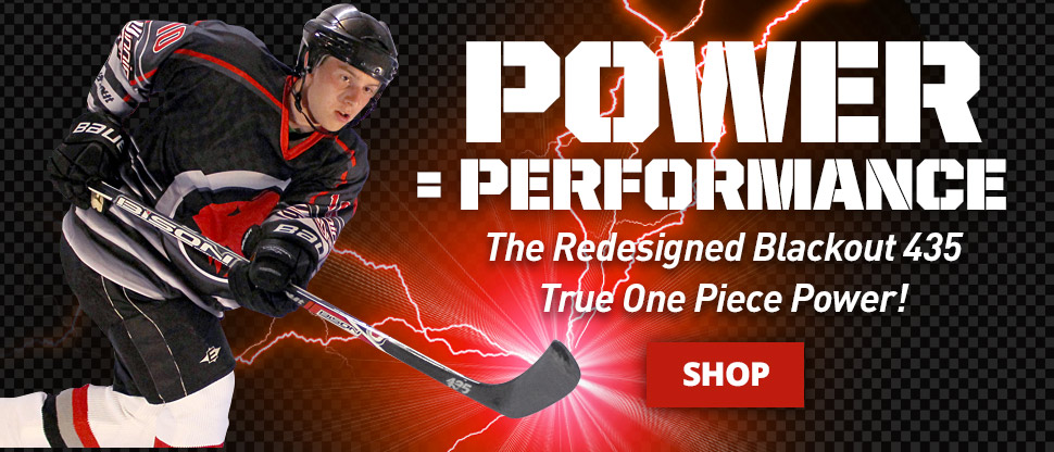One piece composite hockey sticks by Bison Hockey Sticks. Redesigned for 2014-2015 - Featuring true one piece carbon fiber construction. The Blackout 435 is our lightest and most responsive senior hockey stick.
