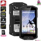 """Rocky"" Huadoo HG04 Rugged Smartphone (Black) - 4.7"" HD Display 4G Quadcore 2GB"