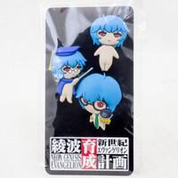 Evangelion Rei Ayanami PukaPuka Rei-chan Rubber Mascot Pins 3pc Set JAPAN ANIME