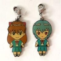 Evangelion Asuka Langley & Rei Ayanami Metal Charm Set JAPAN ANIME