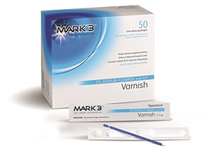 MARK3 Varnish 5% Sodium Fluoride w/ TCP 50/bx is a fast and easy fluoride treatment that contains Tri-Calcium Phosphate which is know to help remineralize teeth.   Contains - 50 unidose packages, each containing .04ml Varnish and one applicator brush.