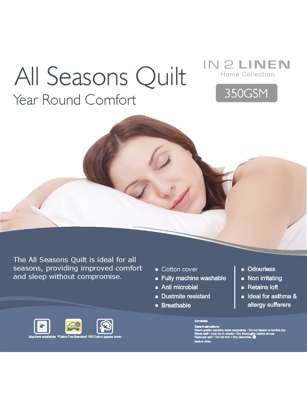 In 2 Linen All Seasons Quilt | 350GSM