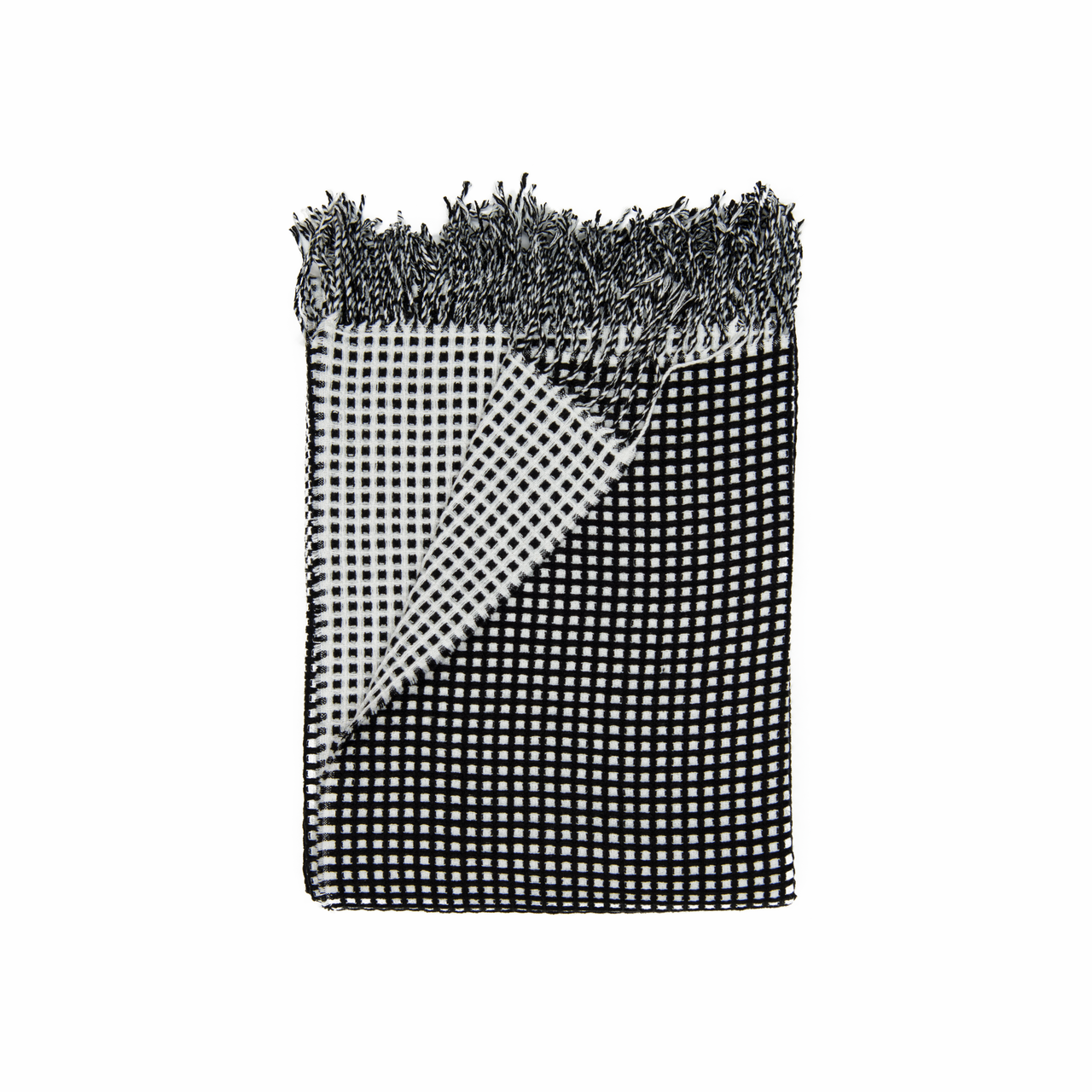 In 2 Linen Waffle Knitted Throw Rug   Natural & Black
