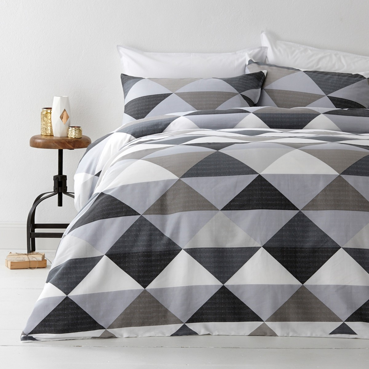 In 2 Linen Tanika Grey Double Bed Quilt Cover Set - In 2 Linen : double bed quilt - Adamdwight.com