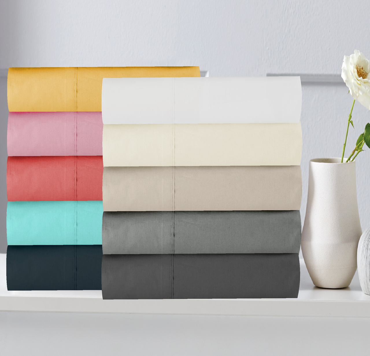 In 2 Linen 300TC Cotton Percale Fitted Sheets | Assorted colours