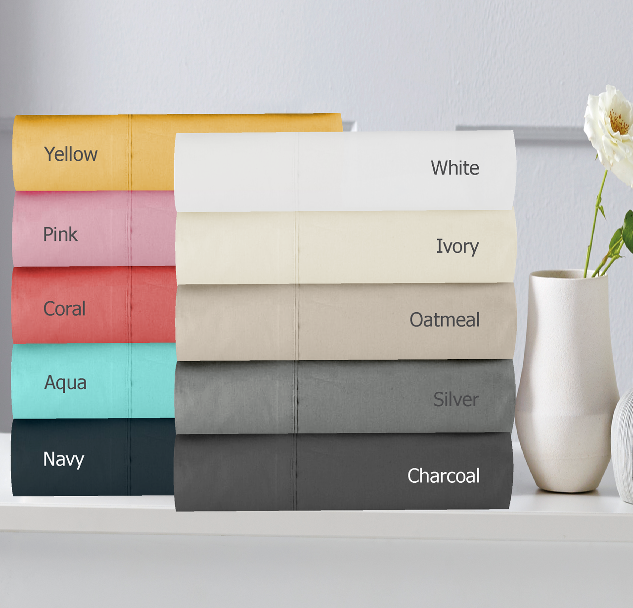 In 2 Linen 300TC Cotton Percale Pillowcases | Assorted colours