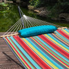 15 Feet Heavy Duty Steel Hammock Stand Two Person Quilted Fabric Hammock And Pillow Combo, Blue&Red Stripe