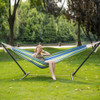 Double Hammock With Space Saving Steel Stand Includes Portable Carrying Case, 450 Pounds Capacity(Meadow Stripe)