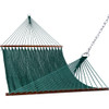 55 inch Double Caribbean Hammock Hand Woven Polyester Rope Outdoor Patio Swing Bed (Dark Green)