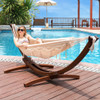 LazyDaze Hammocks 12Feet Wood Arc Hammock Stand and Canvas Fabric with Tassels and Spreader Bar Hammock Combo