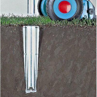 Brabantia Bodenanker aus Metall für Wäschespinne LOM-Advance 50mm mit gelber Plastikkappe