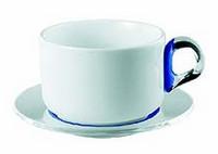Guzzini InFusion 4 Frühstückstassen mit Untertellern blau