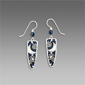 Midnight Blue Trowel Shape Earrings with Imitation Rhodium Outer Space Overlay