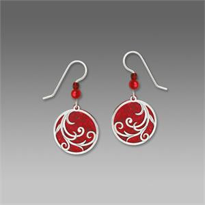 Bright Red Disc Earrings with Imitation Rhodium Tendrils Overlay