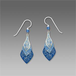 Lake Blue and Imitation Rhodium Three-Part Necktie Shapes Earrings