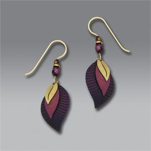 Three-Part Wine and Plum Leaf Shaped Earrings with Brass Leaf