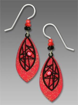Coral Teardrop Earrings with Black Criss-Cross Overlay and Cabochon