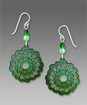Emerald and Deep Teal Green Scalloped Filigree Disc Earrings