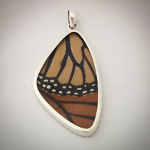 Sterling Silver and Monarch Butterfly Wing Pendant
