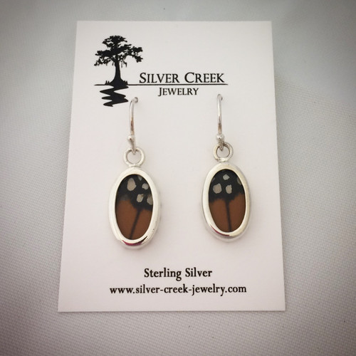 Sterling Silver and Monarch Butterfly Wing Earrings