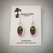 Sterling Silver and Sunset Moth Wing Earrings