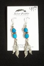 Turquoise Feather Earrings 41-608