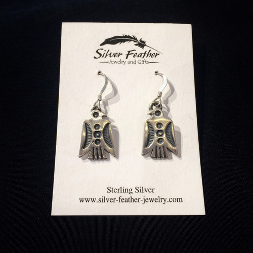 Oxidized Sterling Silver Thunderbird Earrings