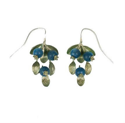 Blueberry earrings featuring hand patinaed bronze, Lapis Lazuli beads, and sterling silver ear wires
