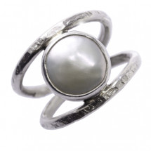 Oxidized sterling silver ring with a white freshwater coin pearl