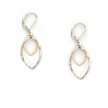 Two-tone open leaf earrings