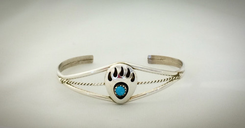 Sterling Silver and Turquoise bear paw cuff bracelet
