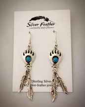 Sterling Silver and Turquoise bear paw earrings with feathers