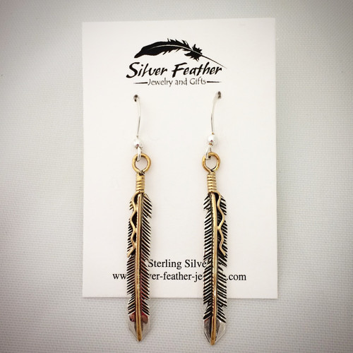 Sterling Silver and 12K Gold-fill feather earrings