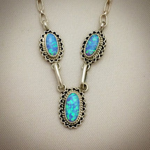 Three Stone Opal Necklace