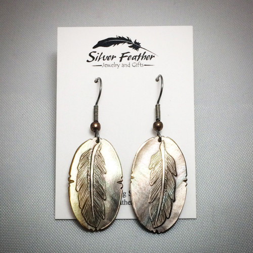 Hand-carved shell gorget feather earring by Creek/Cherokee artist Dan Townsend
