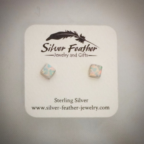Small Opal and Sterling Silver Post Earrings
