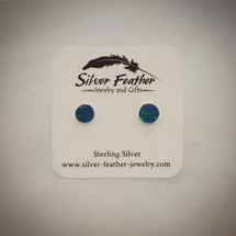 Small Blue Cultured Opal and Sterling Silver Post Earrings