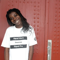 White Equal Work Equal Pay (black ink)