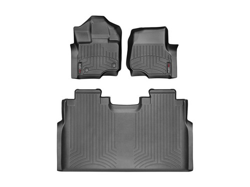 2015-2016 Ford F-150-Weathertech Floor Liners-Full Set (Includes 1st and 2nd Row)-Fits Supercrew Models Only-Black
