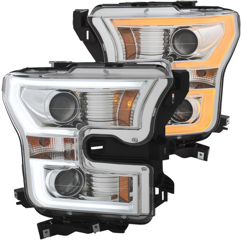 2015-2017 Ford F-150 Anzo Switchback Outline Projection Headlights (Chrome Housings)